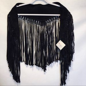 Vintage black suede shawl from MOLAA